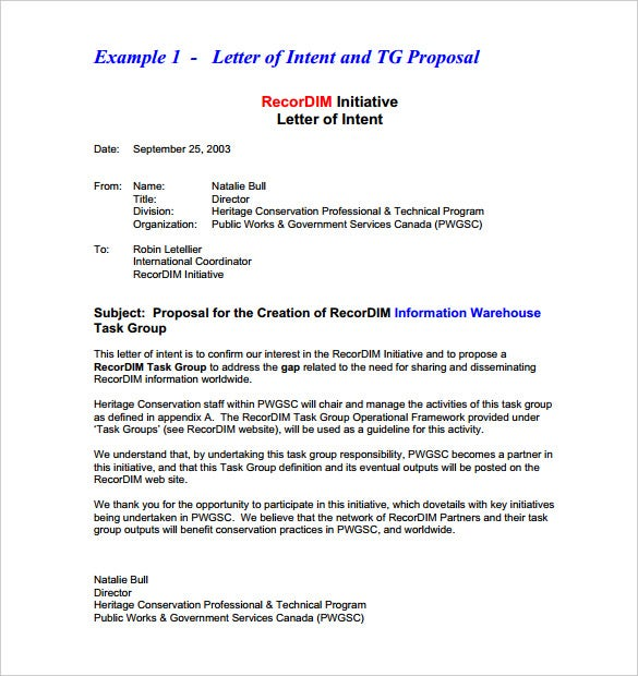 Business Letter Of Intent Templates  Free Sample Example