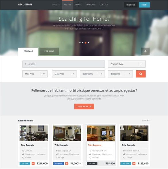 real estate directory listing psd template