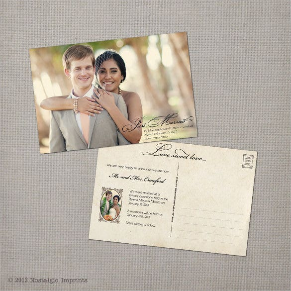 postcard for wedding purpose