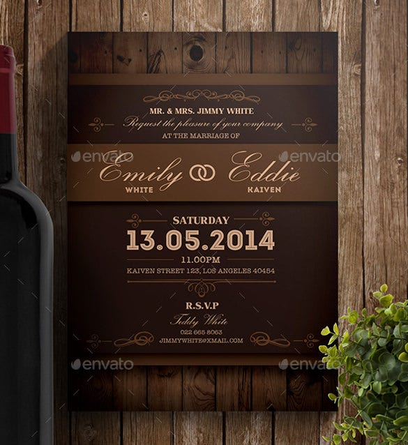 Nice Rustic Wedding Invitation PSD Format Template Download