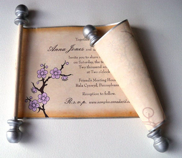 scroll cherry blossom rustic wedding invitation
