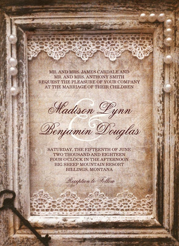 rustic vintage antique brown frame wedding invitation