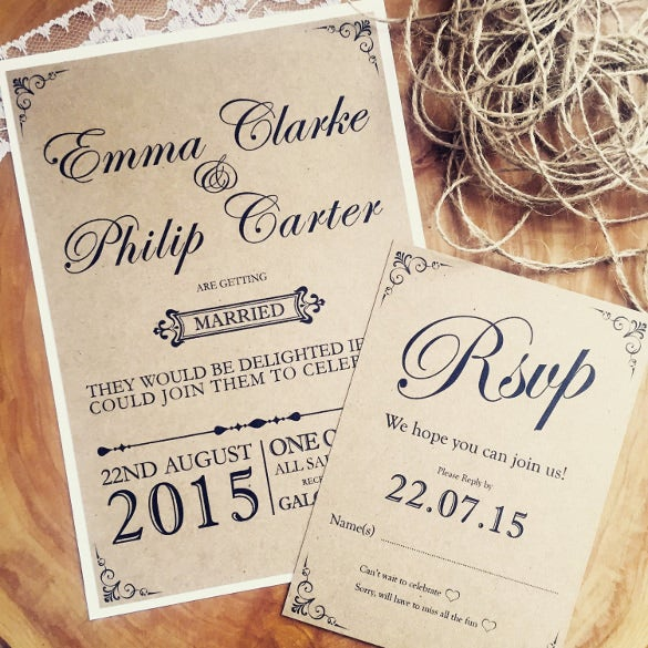 27 Rustic Wedding Invitation Templates Free Sample Example – Handmade Rustic Wedding Invitations