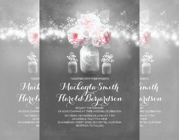 chalkboard mason jar rustic string lights wedding invitation