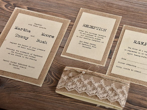 Natural Burlap Rustic Wedding Invitation Template