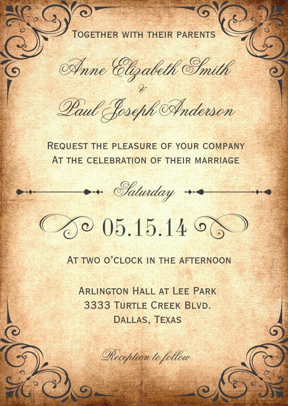 Rustic Vintage Wedding Invitation Tempalate