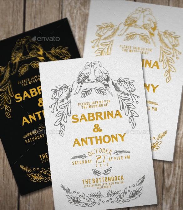 typography style rustic wedding invitation
