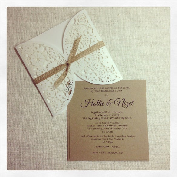sample laser cut rustic wedding invitation