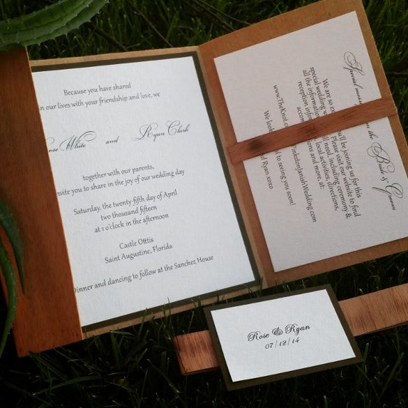 wooden style rustic wedding invitation template