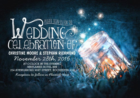 romantic rustic mason jar fireflies wedding invitaion