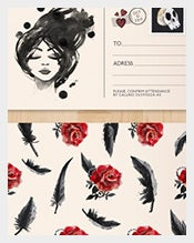 Hand-painted-postcard-with-roses-and-feathers