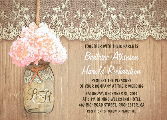 rustic country mason jar pink hydrangea wedding invitation - Free Rustic Wedding Invitation Templates