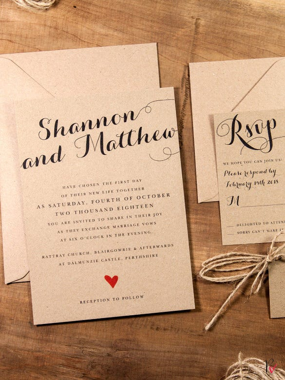 krafted love rustic wedding invitation template download