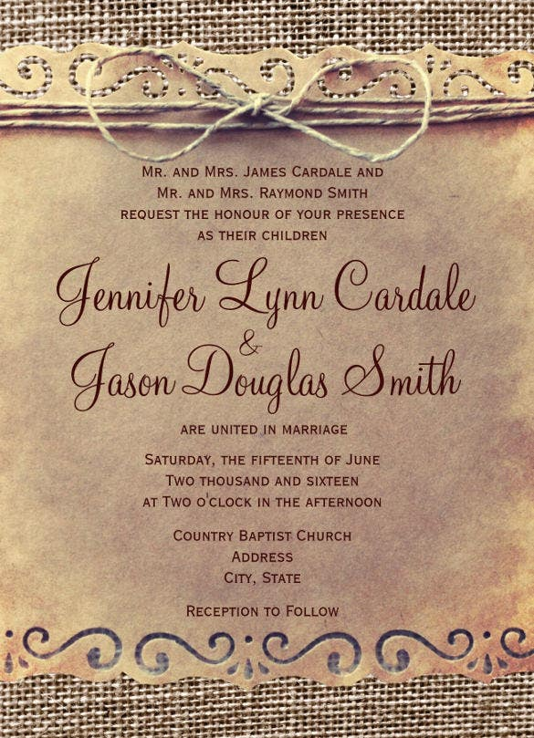 rustic country vintage burlap wedding invitation
