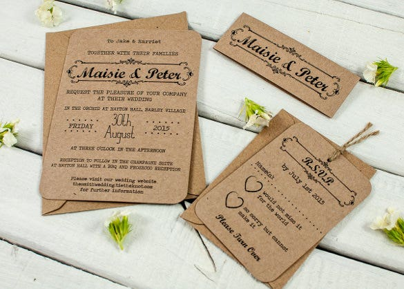 kraft rustic wedding invitation bundle download template