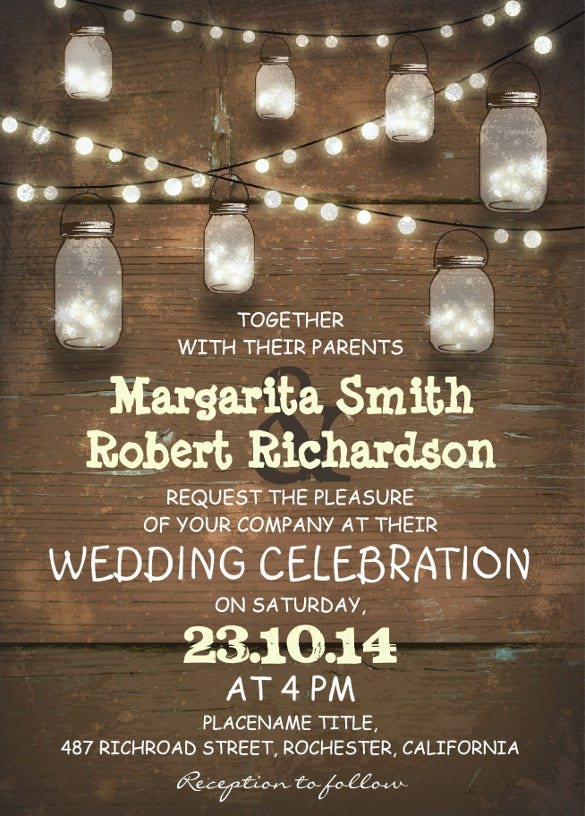 rustic mason jars and light wedding invitation
