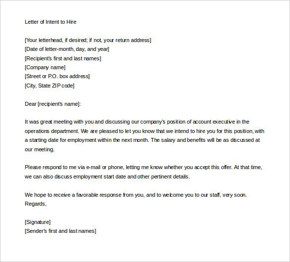 Letter Samples.com | The Sample Editable Letter Of Intent Nursing Employment  Template Is Written When Applying For The Job Of A Nurse That Has Been ...  Letter Of Intent Template Job