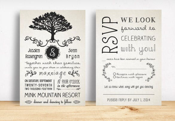 rustic wedding invitation pack download template