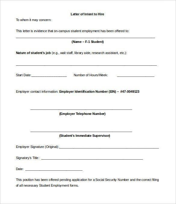 Printable Employment Letter Of Intent To Hire Template Download