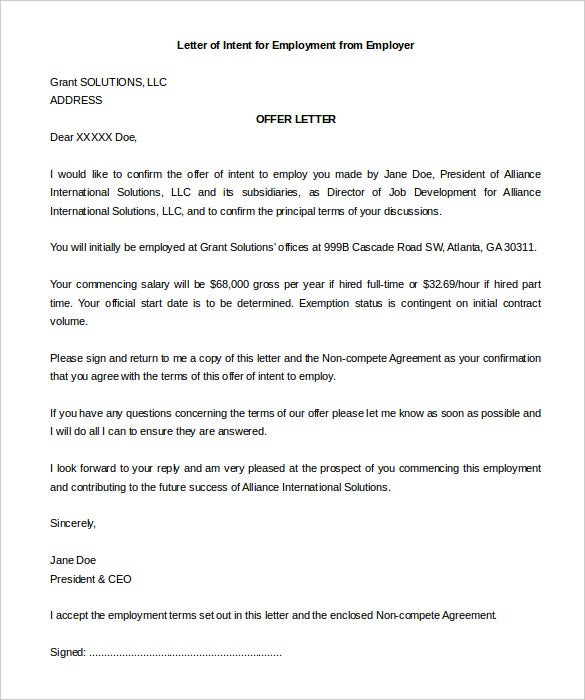 Download Sample Letter Of Intent For Employment From Employer  Letter Of Intent Template Job