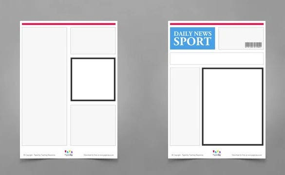 sample blank newspaper template for kids download