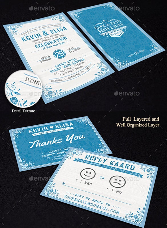 Typographic Elegant Wedding Invitation Template