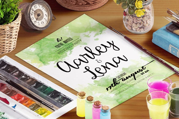 elegant watercolour wedding invitation template