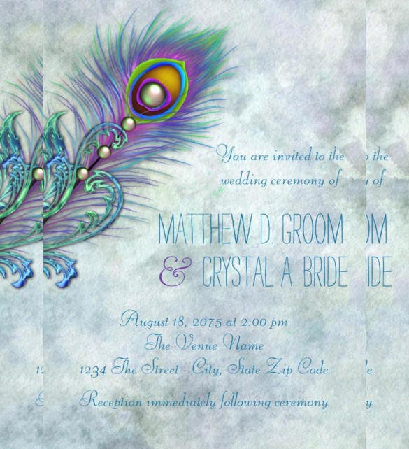 elegant vintage peacock wedding invitation template