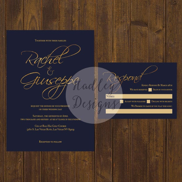 navy and gold elegent wedding invitation template