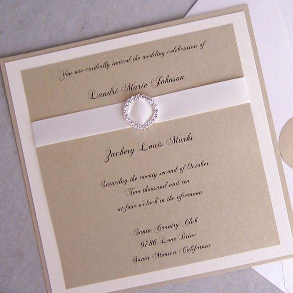 gold ivory elegant wedding invitation