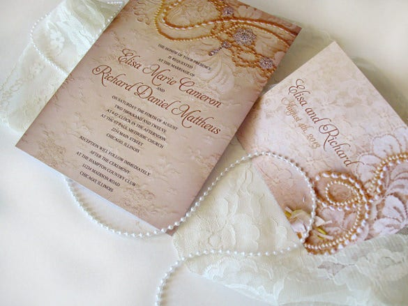 lace and pearls elegant wedding invitation