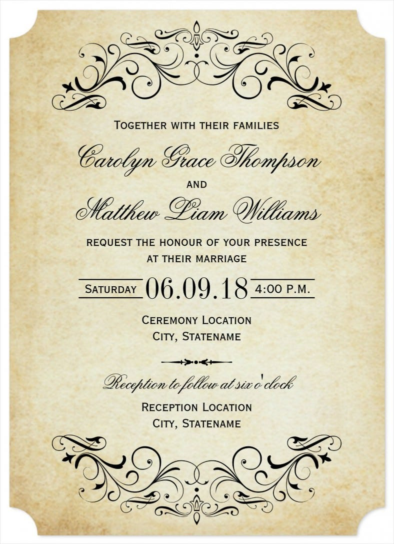 elegant flourish wedding invitation template download 788x1087