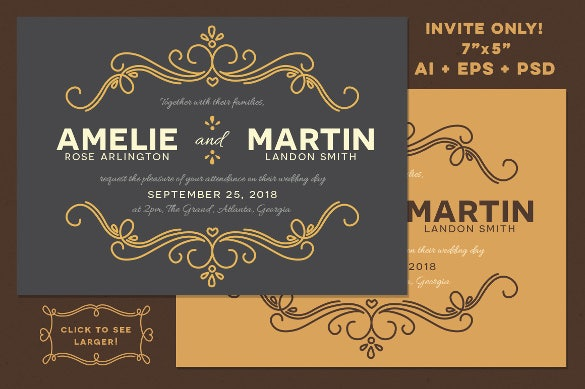 fairytale elegant wedding invitation template download
