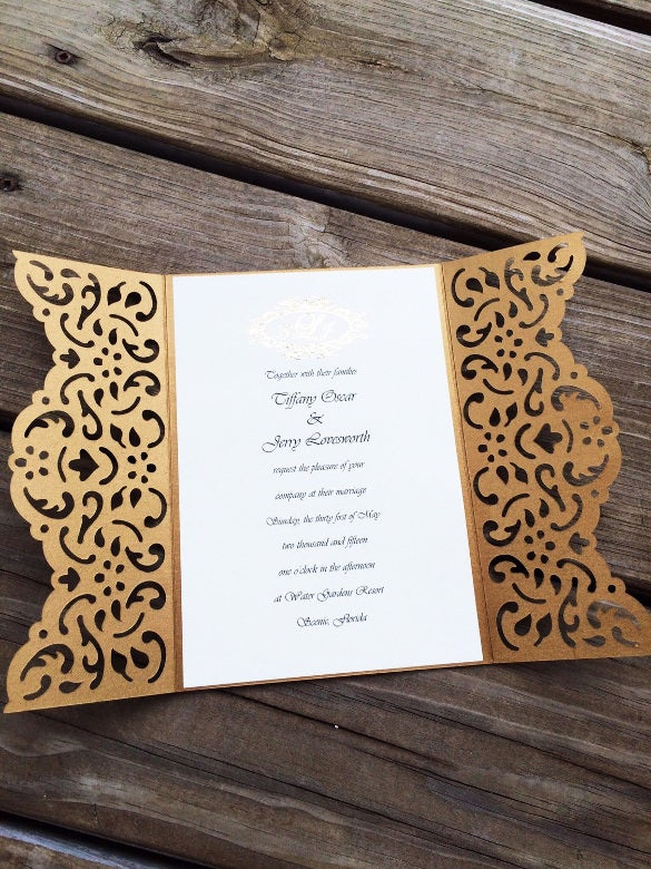 laser cut elegant wedding invitation template