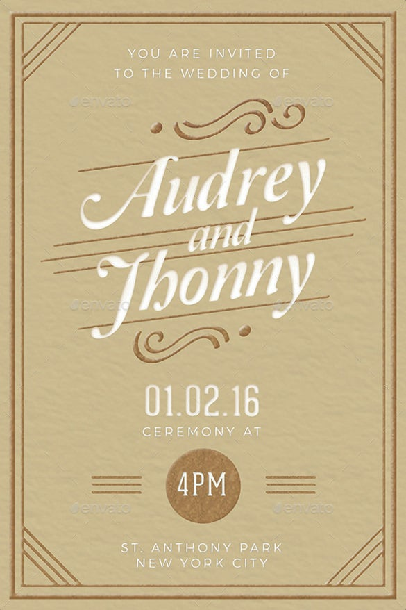 set of 5 elegant wedding invitation template