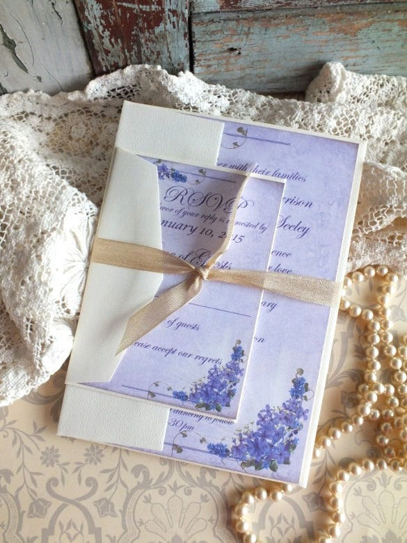 vintage romantic elegant wedding invitation template
