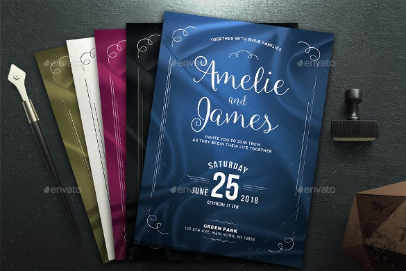 pack of beautiful elegant wedding invitation template