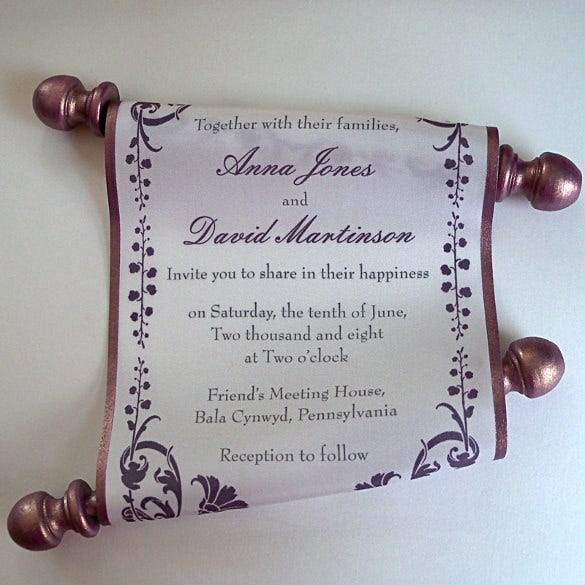 elegant wedding invitation scroll on silk