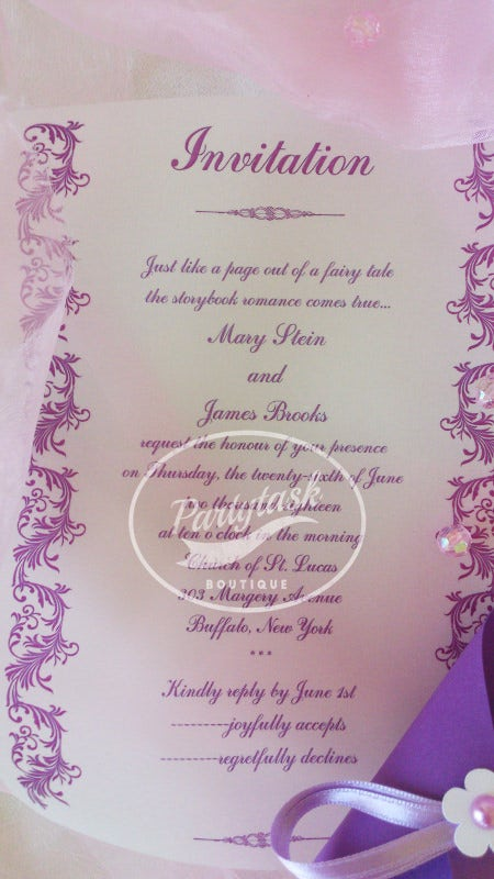 purple romantic elegant wedding invitation