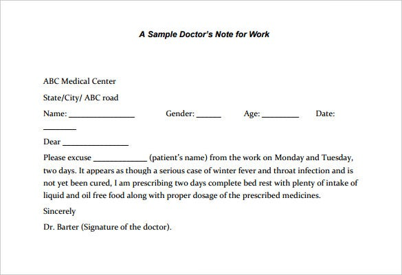 Pdf Wondershare Com Very Simple Medical Excuse Template For Legal ...
