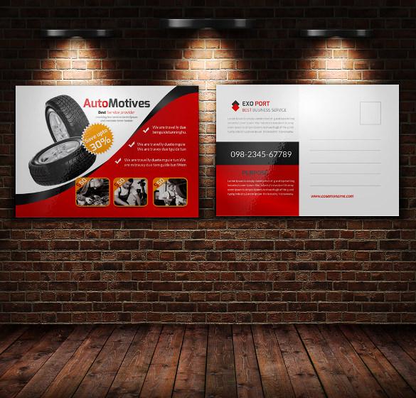 automotive business postcard design
