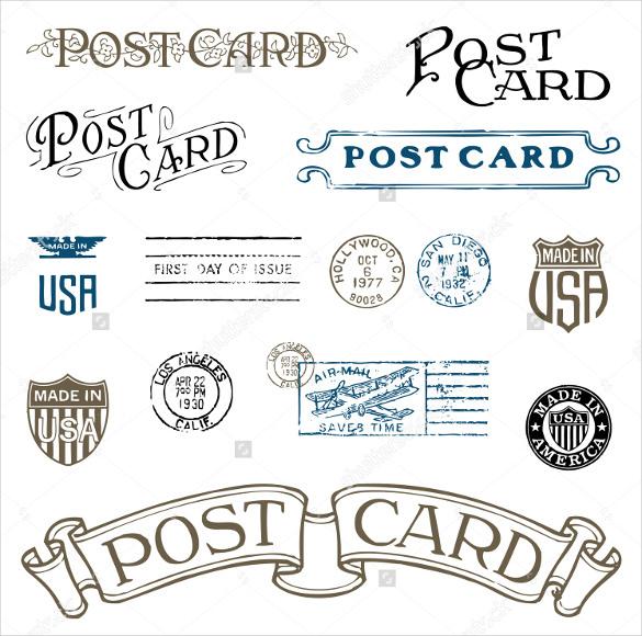 vector vintage postcard design format