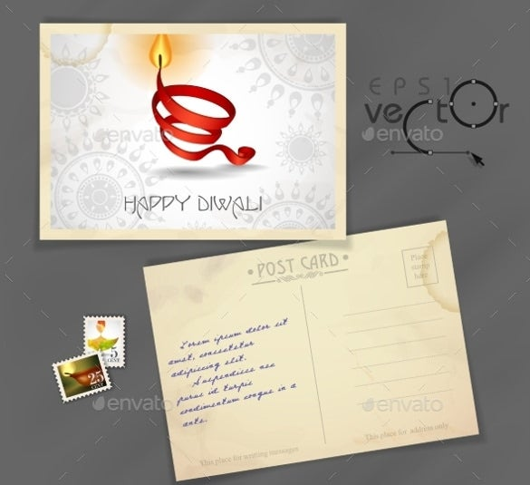 old postcard design template vector eps