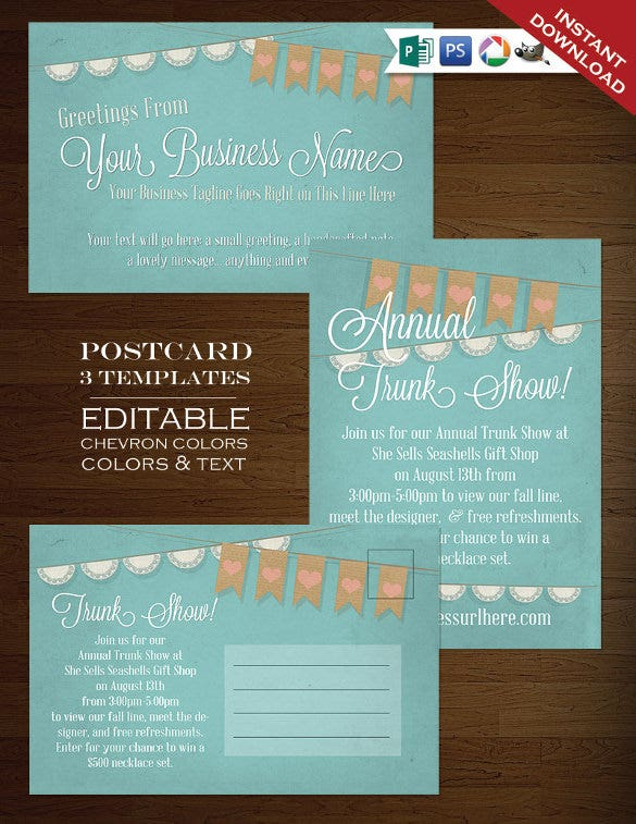 postcard design template in water colour