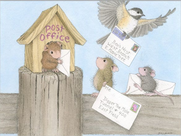 postcard design for mouse house