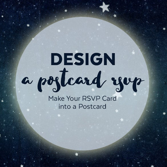 rsvp postcard design format with moon and stars