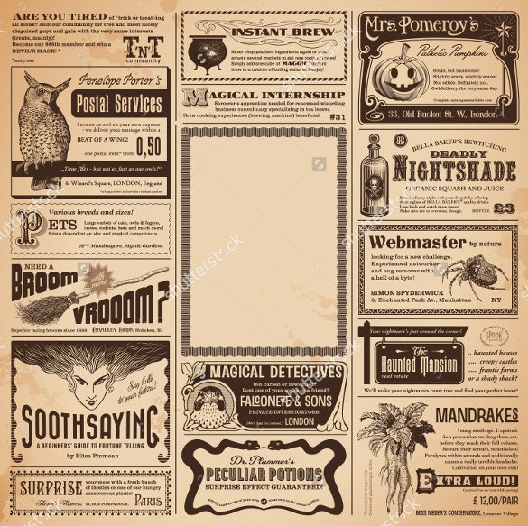 Halloween Newspaper Ad Template Download