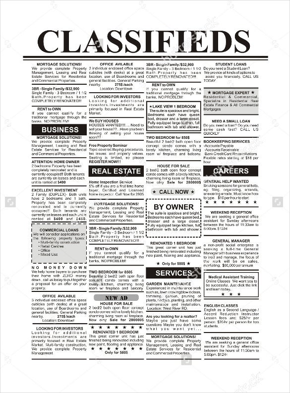 classified newspaper ad template