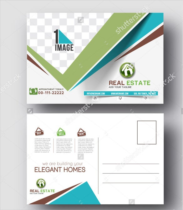 real estate postcard template vector format