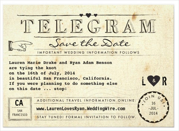 telegram with hearts addressing wedding invitation template